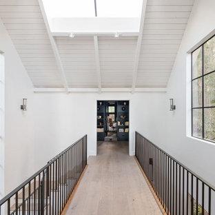 Ejemplo de recibidores y pasillos campestres con paredes blancas