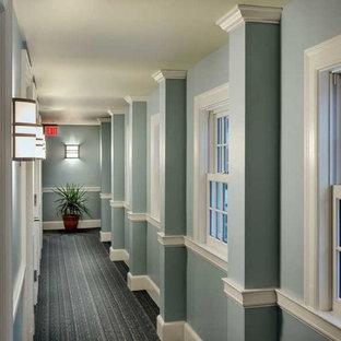 Пример оригинального дизайна: коридор в классическом стиле с синими стенами, ковровым покрытием и синим полом
