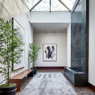 Diseño de recibidores y pasillos actuales, grandes, con paredes blancas, suelo multicolor y suelo de pizarra