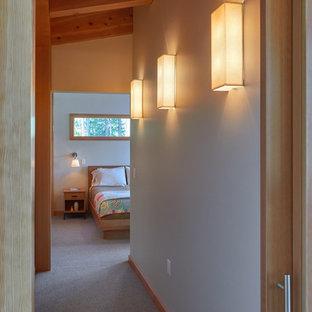 Foto di un piccolo ingresso o corridoio design con pareti beige e moquette