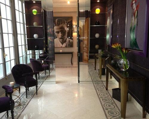 grand couloir avec un mur violet photos et id es d co de couloirs. Black Bedroom Furniture Sets. Home Design Ideas
