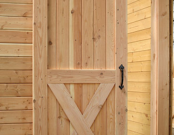 Arched Top Interior Rustic Barn Door with Crossbuck & Sliding Track Hardware