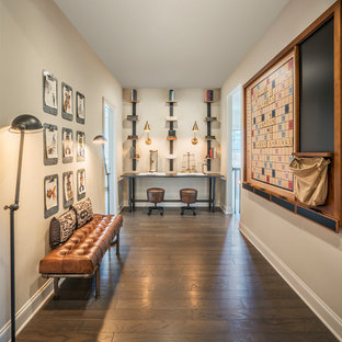 Inspiration for a timeless dark wood floor and brown floor hallway remodel in Atlanta with gray walls