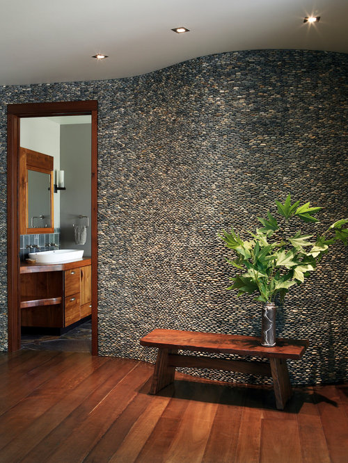 River Rock Wall Houzz