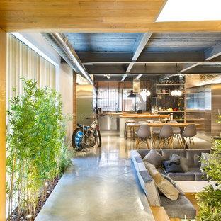 Стильный дизайн: огромный коридор в стиле лофт с коричневыми стенами и бетонным полом - последний тренд