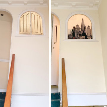 Before and after London printed arch window