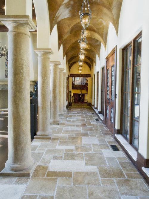 75 most popular mediterranean hallway with travertine for Mediterranean flooring ideas