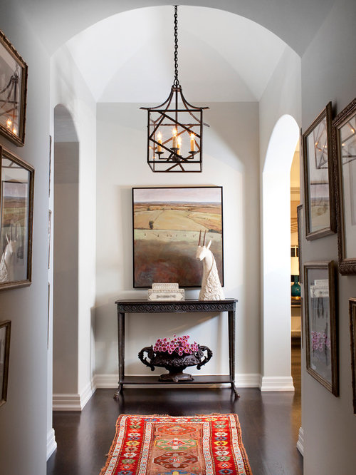 Inspiration For A Transitional Dark Wood Floor Hallway Remodel In Los Angeles With White Walls