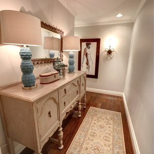 This is an example of a mid-sized traditional hallway in Detroit with beige walls and dark hardwood floors.