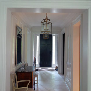 Black Front Door, Contemporary Hallway, Wood Panelling