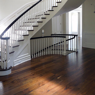 Inspiration for a contemporary brown floor hallway remodel in Chicago