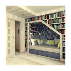 Eclectic Hall bookcases