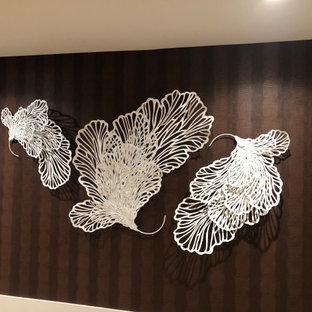 Diseño de recibidores y pasillos papel pintado, modernos, con paredes blancas y papel pintado