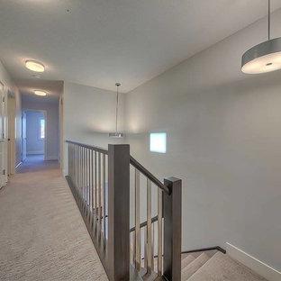 Réalisation d'un grand couloir design avec un mur gris et moquette.