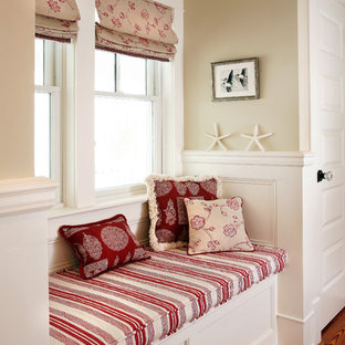Design ideas for a beach style hallway in Philadelphia with beige walls and medium hardwood floors.