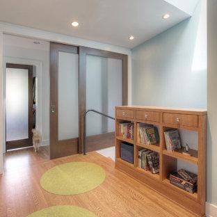 Удачное сочетание для дизайна помещения: коридор среднего размера в скандинавском стиле с синими стенами и паркетным полом среднего тона - самое интересное для вас