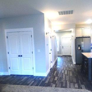 他の地域の中くらいのトランジショナルスタイルのおしゃれな廊下 (グレーの壁、ラミネートの床、マルチカラーの床) の写真