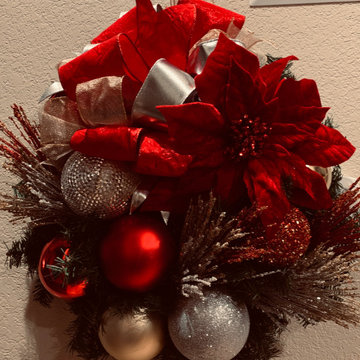 Christmas joy with sparkle!  Bows, ribbons and glass ornaments!