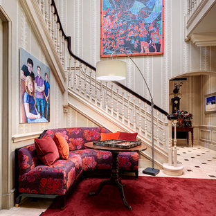 Traditional hallway in London with multi-coloured walls.