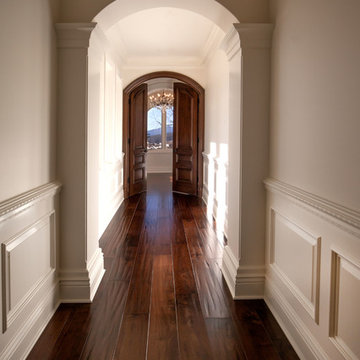 Classical White Hallway with Arches