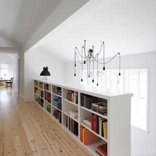Example of a danish light wood floor hallway design in Austin