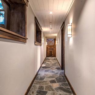 他の地域のコンテンポラリースタイルのおしゃれな廊下 (白い壁、スレートの床、グレーの床、板張り天井) の写真