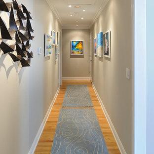 Ejemplo de recibidores y pasillos costeros, de tamaño medio, con paredes grises y suelo de madera clara