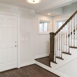 デトロイトの中くらいのトラディショナルスタイルのおしゃれな廊下 (白い壁、濃色無垢フローリング、マルチカラーの床) の写真