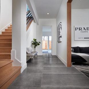 Стильный дизайн: большой коридор в современном стиле с белыми стенами, полом из керамогранита, черным полом и сводчатым потолком - последний тренд
