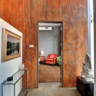 Cette image montre un couloir design avec béton au sol.