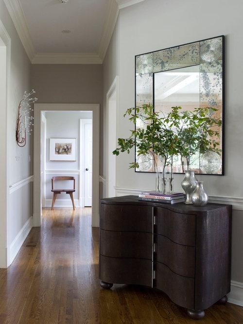 contemporary hallway idea in dallas with gray walls