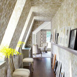 Hallway - traditional dark wood floor hallway idea in New York with multicolored walls
