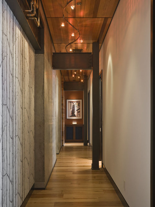 Contemporary medium tone wood floor hallway idea in Portland with white walls & Curved Track Lighting | Houzz azcodes.com