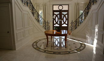 Crema Marfil MARBLE tiles, stairs, countertops and fireplace in mansion