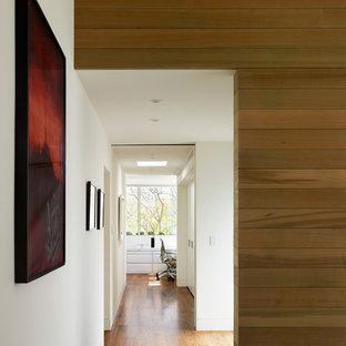 Hallway - modern medium tone wood floor and brown floor hallway idea in Los Angeles with white walls