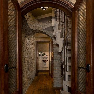 Custom Home Interior Design, Entertaining Area, Spiral Staircase