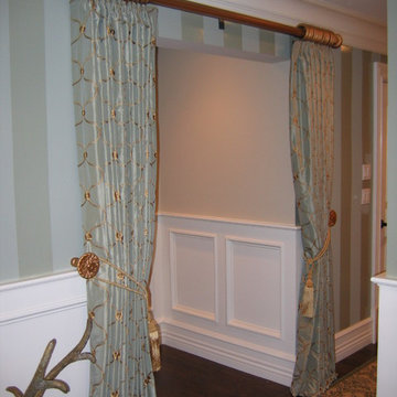 Custom Top Pleat Draperies with Tassel Tie Backs for Stairwell Entry