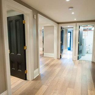 Custom Wood Floor, Black Interior Doors, White Baseboard Trim