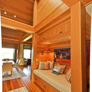 Inspiration for a beach style hallway in Boston with medium hardwood floors.