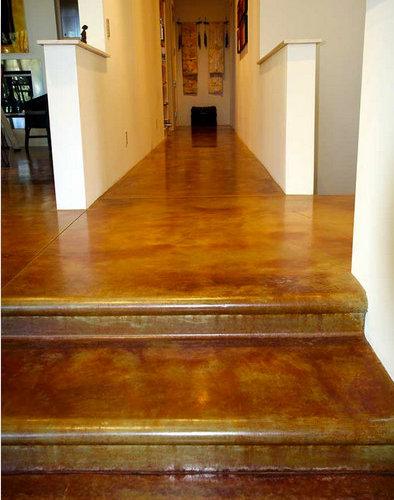 Dark Brown Interior Floors Acid Stained Custom Concrete Interior Floors