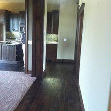 Contemporary Hall Dark trim and decor help