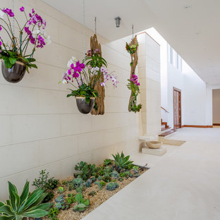 Example of a large tuscan white floor hallway design in Miami with white walls