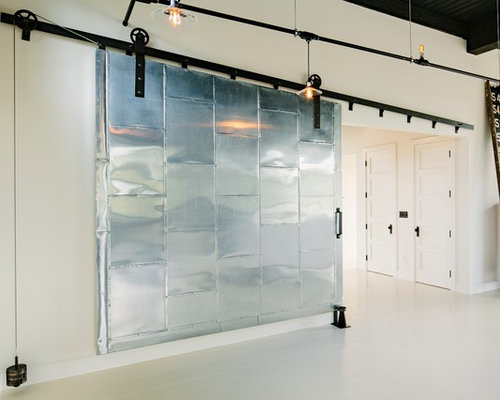 Metal barn door houzz for Metal barn doors
