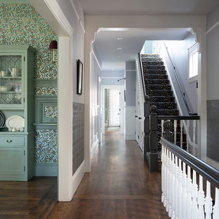 サンフランシスコの広いヴィクトリアン調のおしゃれな廊下 (マルチカラーの壁、濃色無垢フローリング、茶色い床) の写真