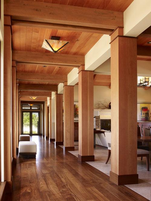 example of a trendy medium tone wood floor hallway design in san francisco
