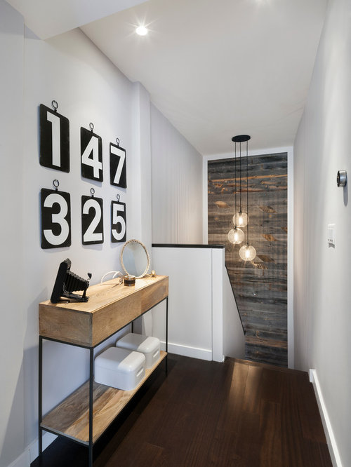 Inspiration For A Mid Sized Contemporary Dark Wood Floor And Brown Floor  Hallway Remodel In