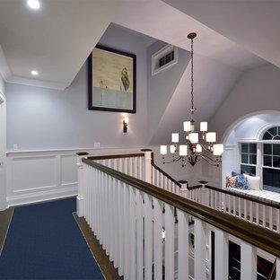 Неиссякаемый источник вдохновения для домашнего уюта: большой коридор в классическом стиле с синими стенами, ковровым покрытием и синим полом