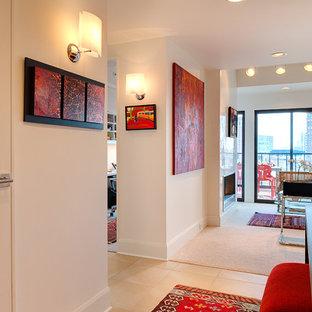 Hallway - contemporary hallway idea in Minneapolis with white walls