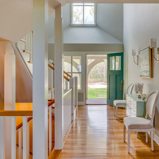 Entryway Hall & Teal Blue Front Door - Boston Magazine Design Home