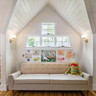 Hallway - large modern light wood floor and beige floor hallway idea in Boston with white walls